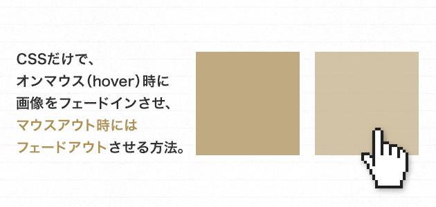 CSSだけで、オンマウス(hover)時に画像をフェードインさせ、マウスアウト時にはフェードアウトさせる方法。